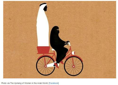 saudi woman bicycle gent