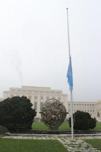 UN flag half mast respect to death of North Korean dictator Kim Jong-il