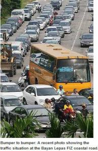 malaysia penang bus in traffic
