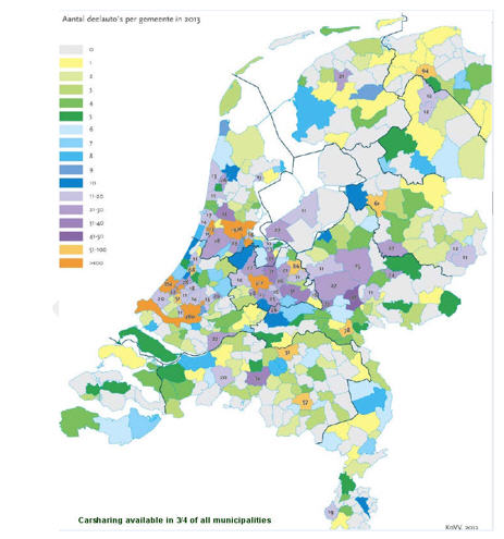 Map of Carsharing Coverage in the Netherlands