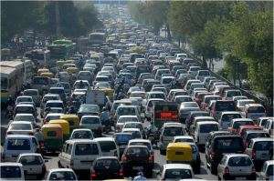 india delhi massive traffic jam