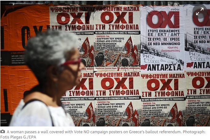Greek crisis - lady before NO vote posters