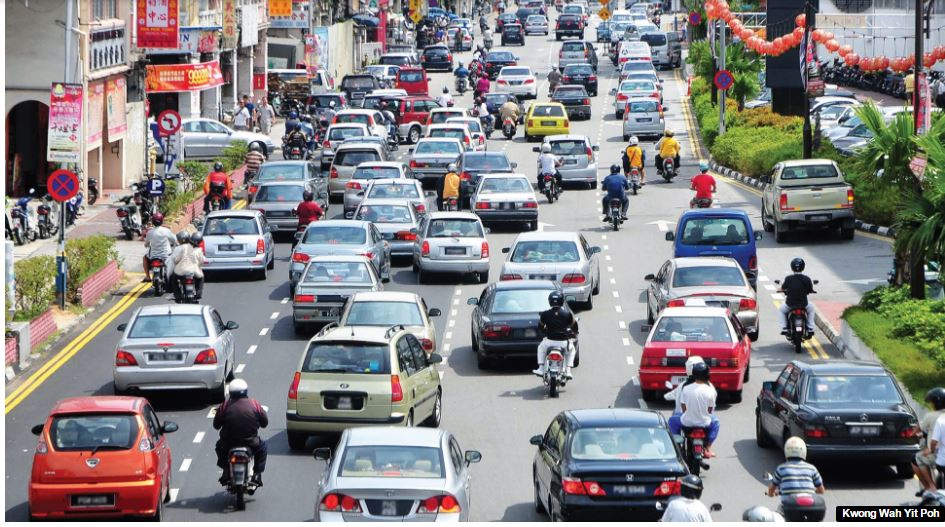 Penang traffic - no sign of public transport